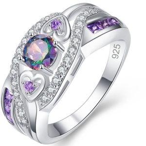 Jewelry - Exquisite Double Heart Rainbow Ring